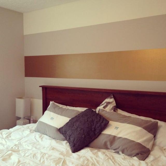 goldene Wandfarbe Akzente setzen Schlafzimmer
