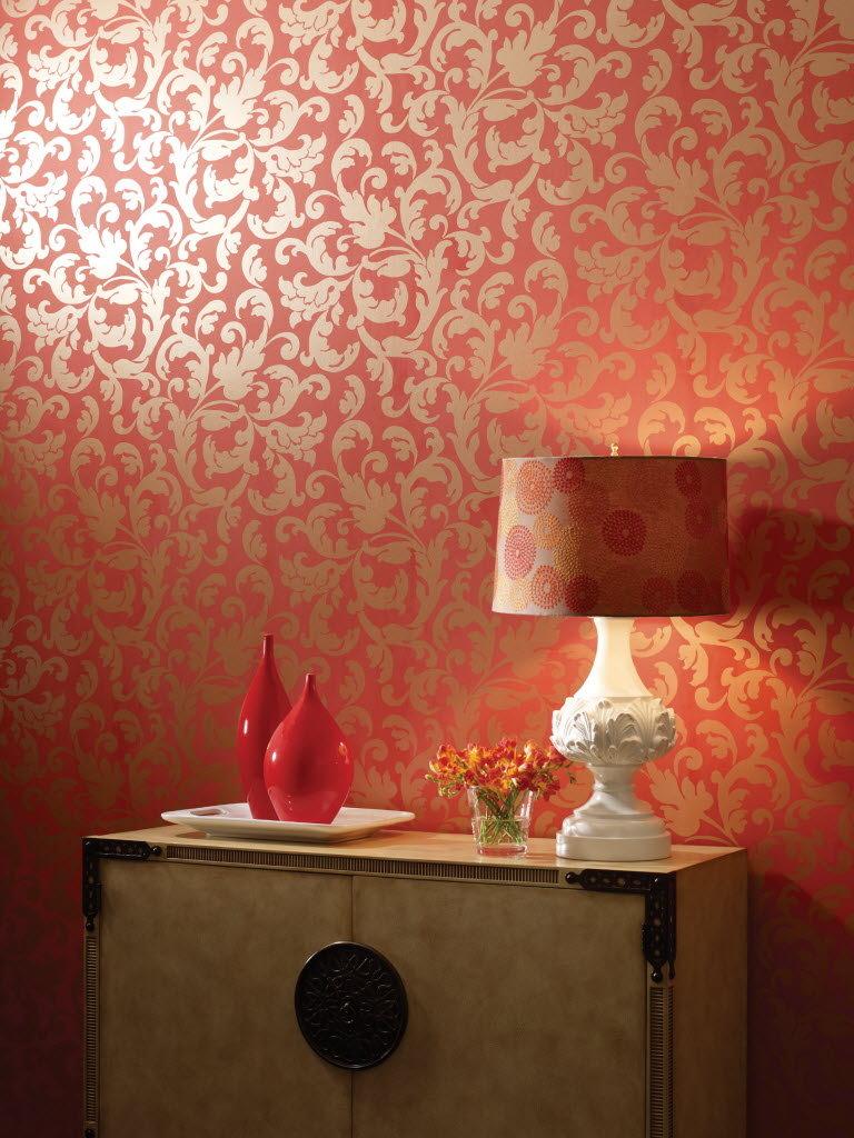 goldene Wandfarbe stilvolle Tapete