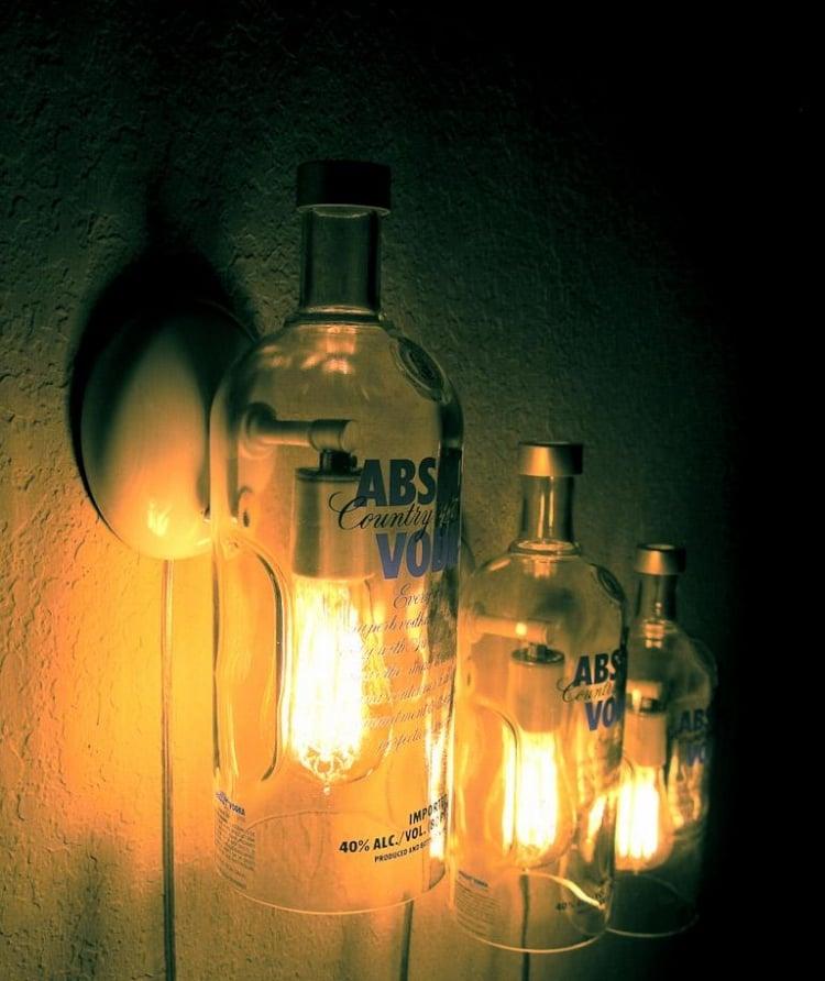 Lampe aus Flaschen Wandlampen Wodka Flaschen