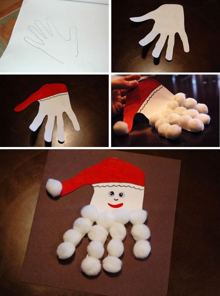 Weihnachtsmann basteln Handabdruck Kinder