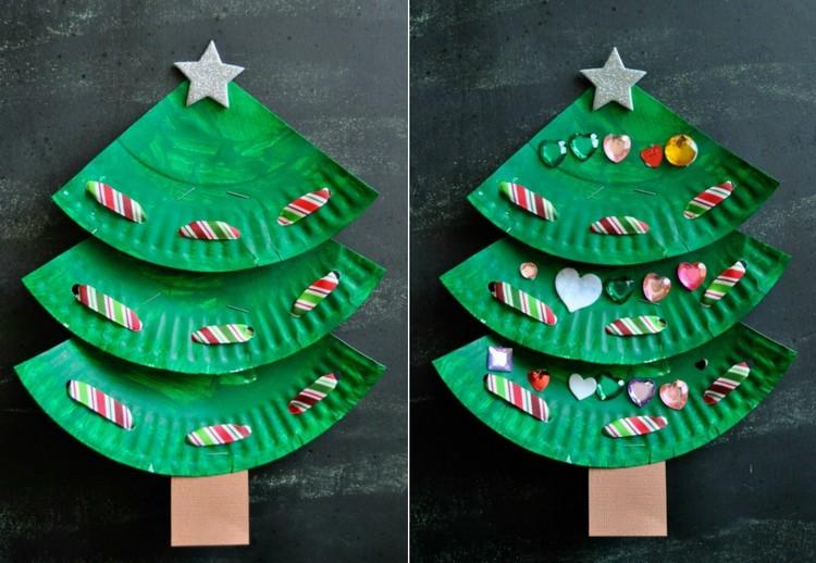 Basteln mit Pappteller Kinder Weihnachtsbaum originell