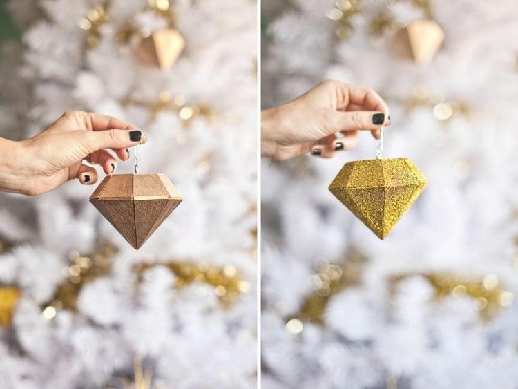 Weihnachtsdeko selber basteln Holz Christbaumschmuck Diamant
