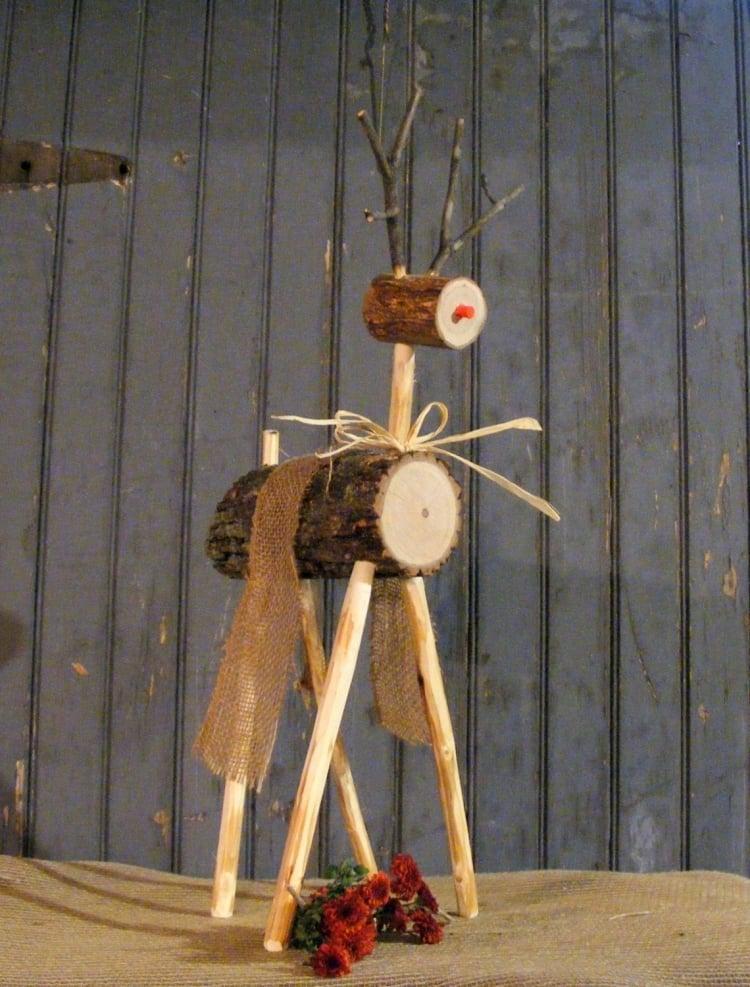 Weihnachtsdeko selber basteln Holz Rentier DIY