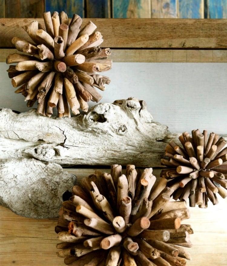 Weihnachtsdeko selber basteln Holz Schneeflocken 3D Treibholz