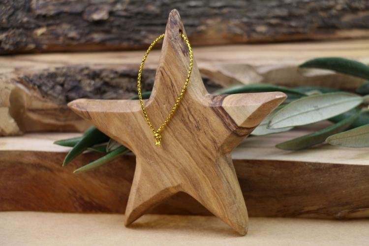 Weihnachtsdeko selber basteln Holz Christbaumschmuck Stern