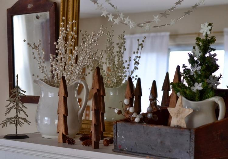 Weihnachtsdeko selber basteln Holz Tannen klein originell