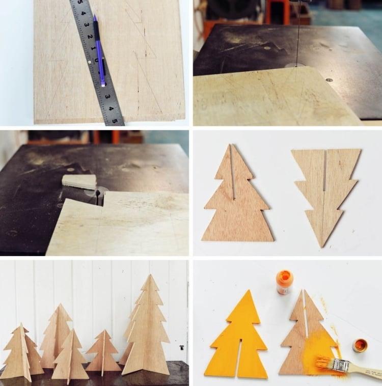 Weihnachtsdeko selber basteln Holz Tannan Holzpapier