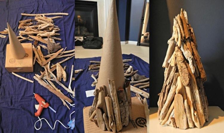 Weihnachtsdeko selber basteln Holz DIY Tannenbaum Treibholz