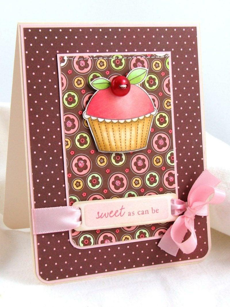 Weihnachtskarten selber basteln süße Ideen Cupcake Motiv