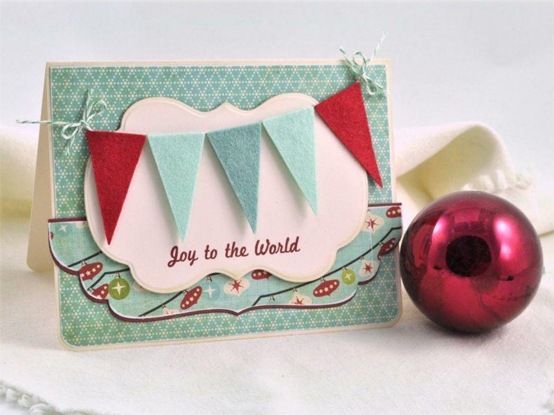 Weihnachtskarten selber basteln tolle Bastelidee mit Filz