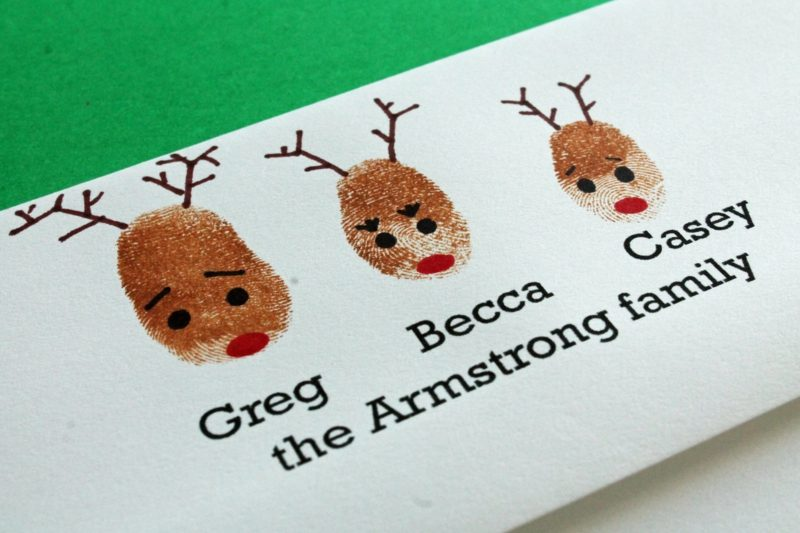 Weihnachtskarten selber basteln Rentieren Fingerabdrücke