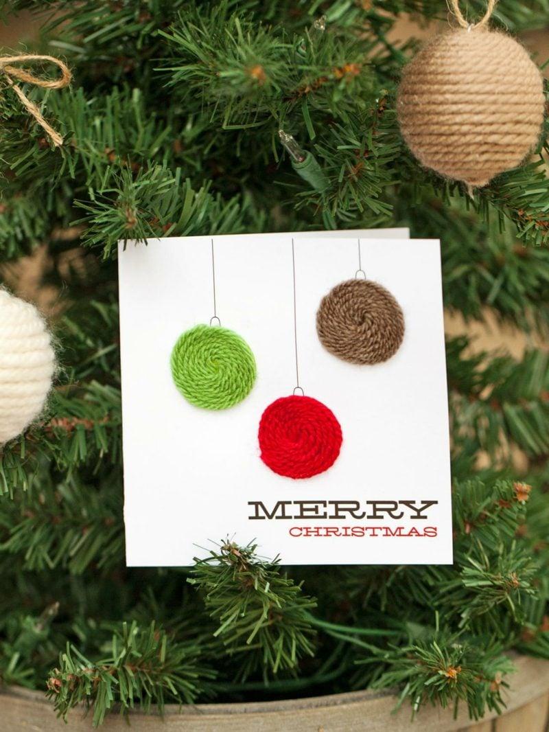 Weihnachtskarten selber basteln Christbaumkugeln Garn