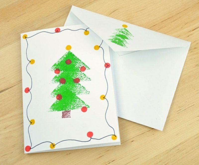 Weihnachtskarten selber basteln Kartoffelstempel Weihnachtsbaum