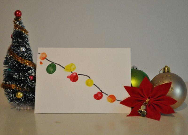 Weihnachtskarten selber basteln Fingerabdrücke Lichterkette