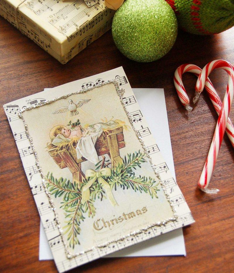 Weihnachtskarten selber basteln Notenpapier Engelchen originell