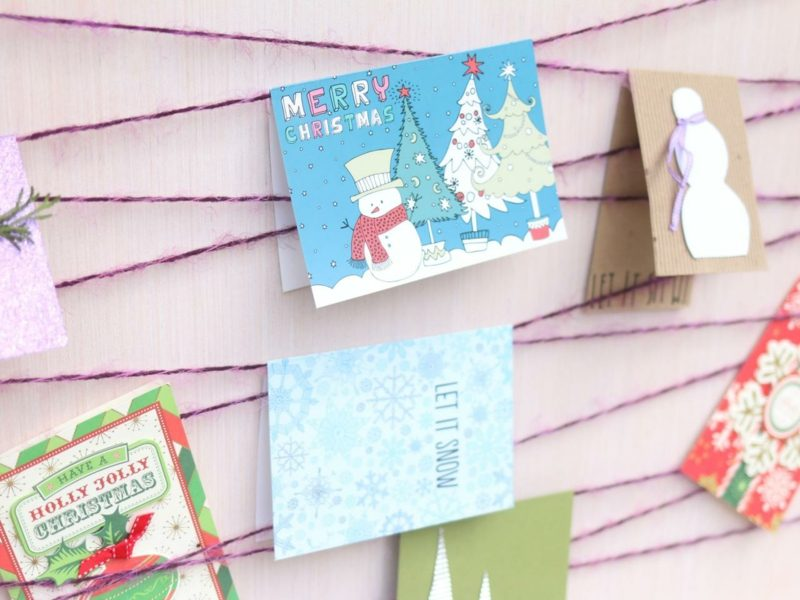 Weihnachtskarten selber basteln Kindermalerei Schneemann
