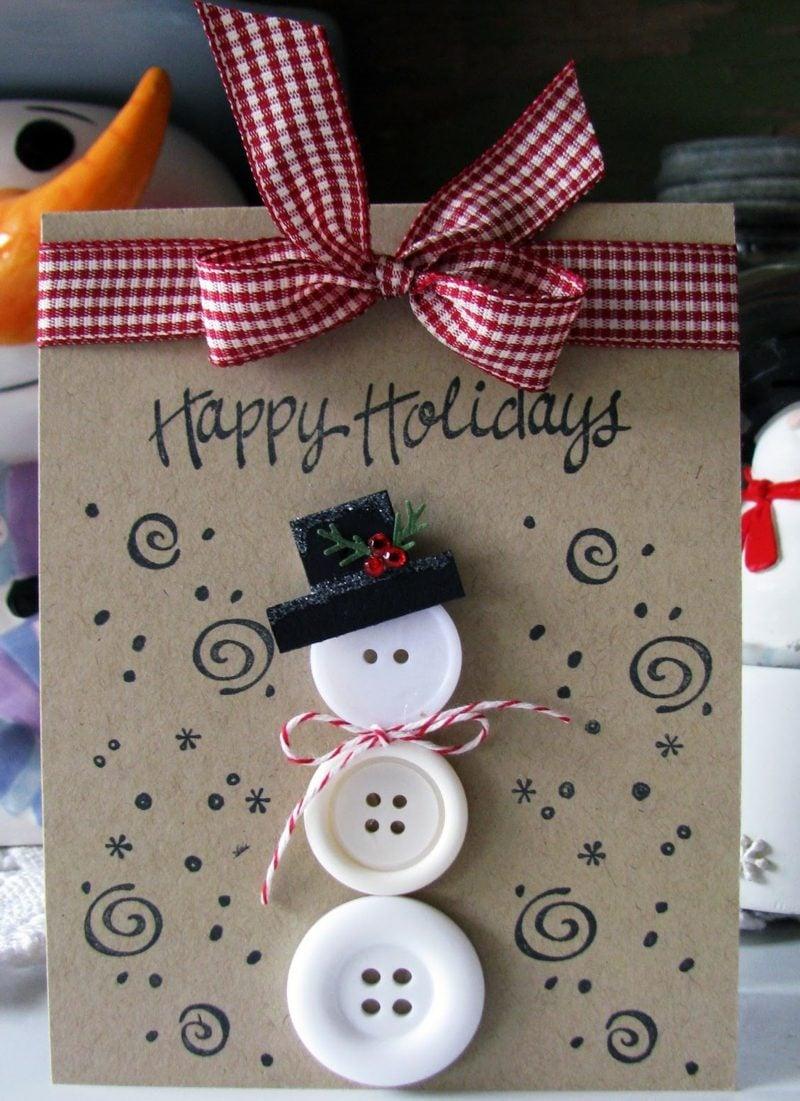 Weihnachtskarten selber basteln Karton Schneemann Knöpfe