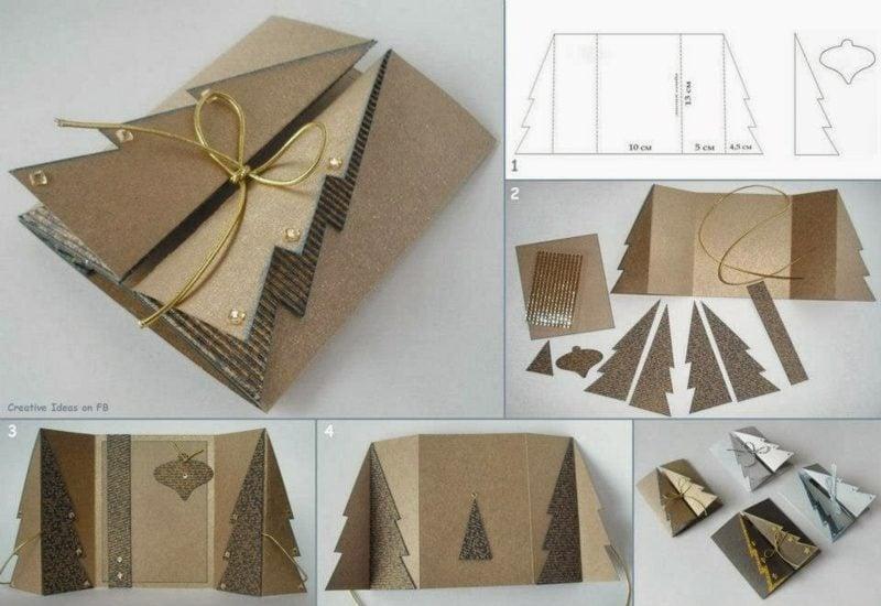 Weihnachtskarten selber basteln Karton Tannenbaum 3D