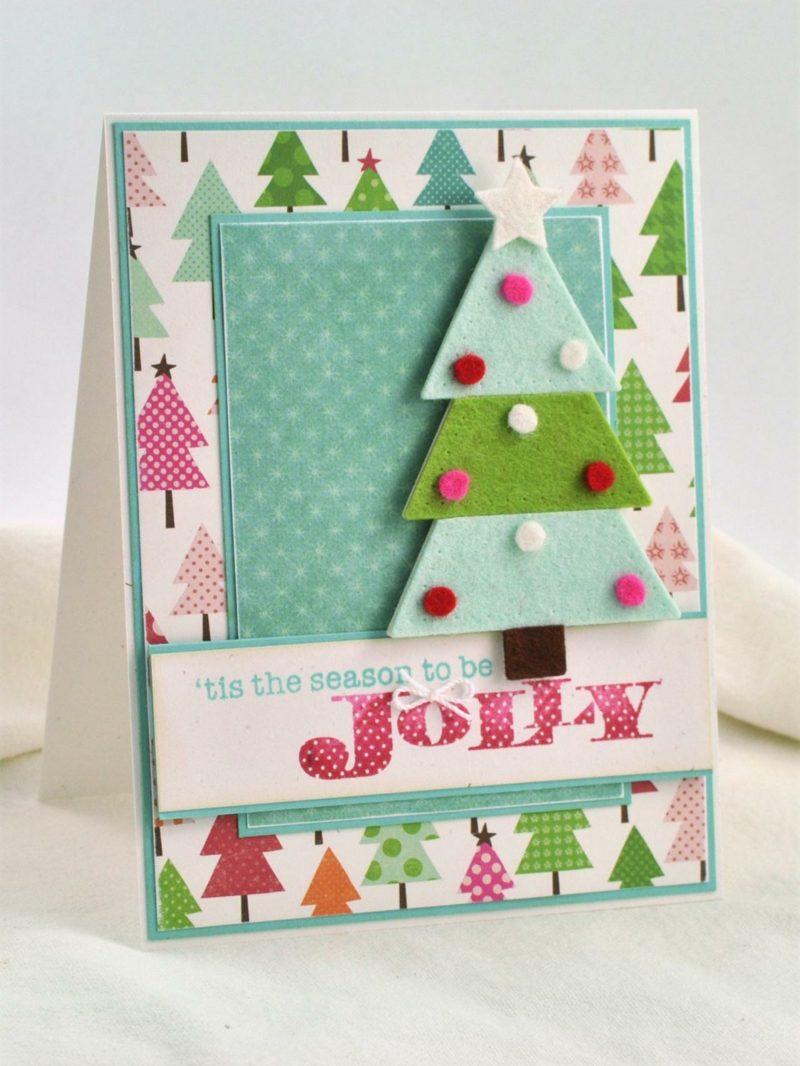 Weihnachtskarten selber basteln Tannenbaum Filz