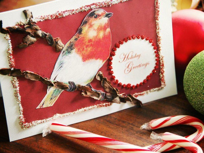 Weihnachtskarten selber basteln Vogel Zimtstangen
