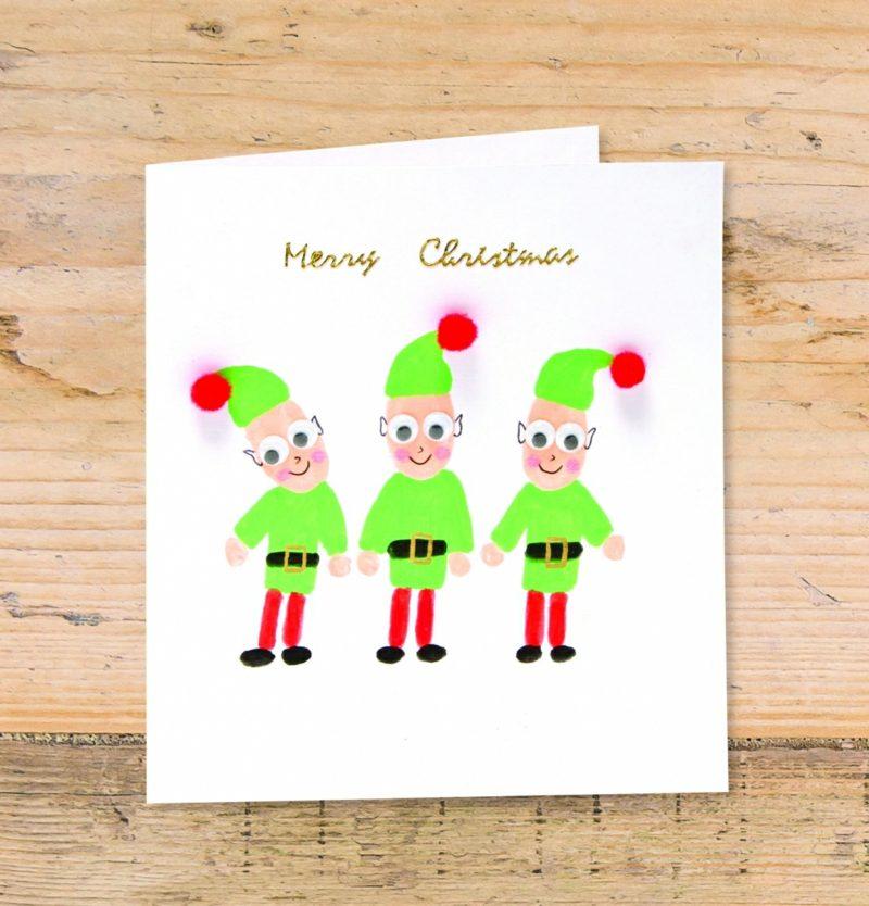 Weihnachtskarten selber basteln Fingerabdrücke Zwerge