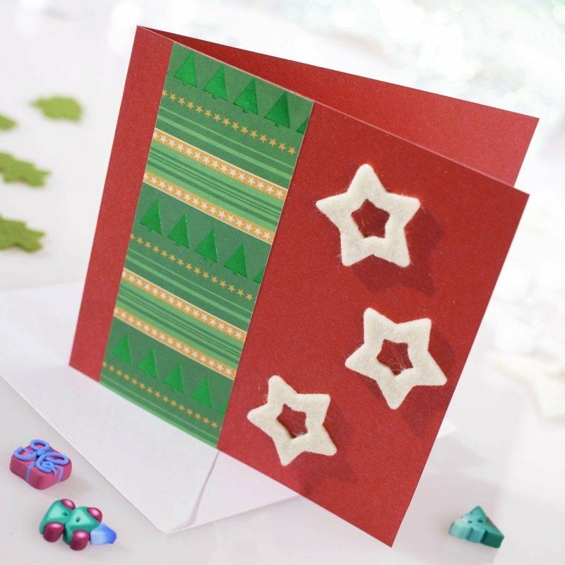 Weihnachtskarten selber basteln rot Sterne