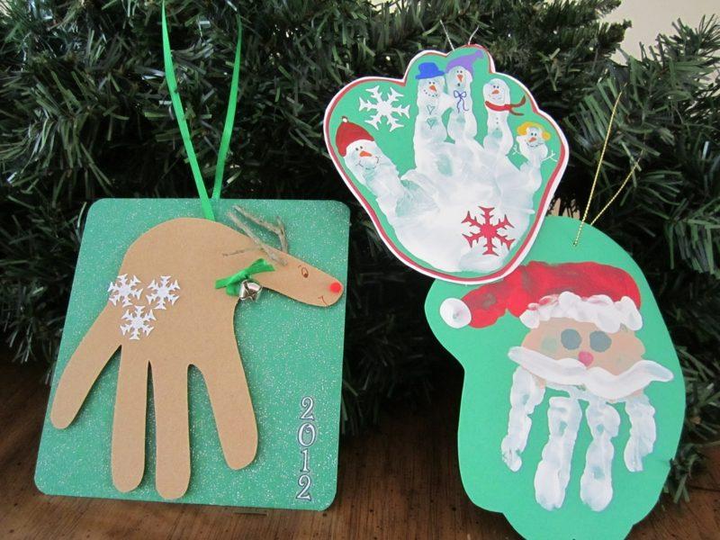 Weihnachtskarten selber basteln Kinder Handabdrücke