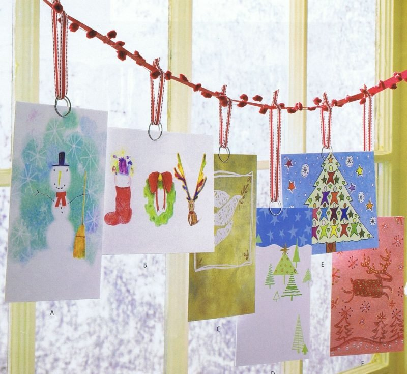 Weihnachtskarten selber basteln Kindermalerei