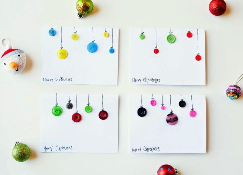 Weihnachtskarten selber basteln Knöpfe Weihnachtskugeln