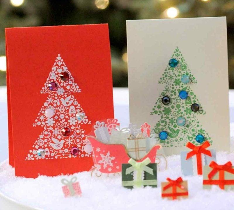 Weihnachtskarten selber basteln Tannenbaum Stempel Glitzer