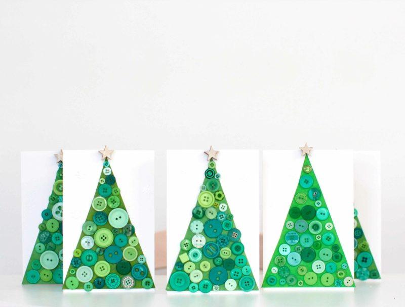 Weihnachtskarten selber basteln Tannenbaum Knöpfe