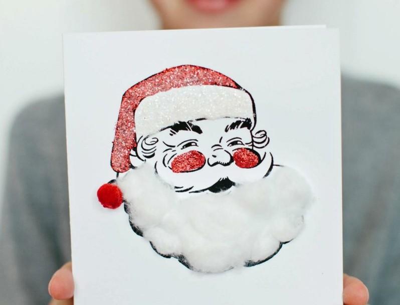 Weihnachtskarten selber basteln Weihnachtsmann
