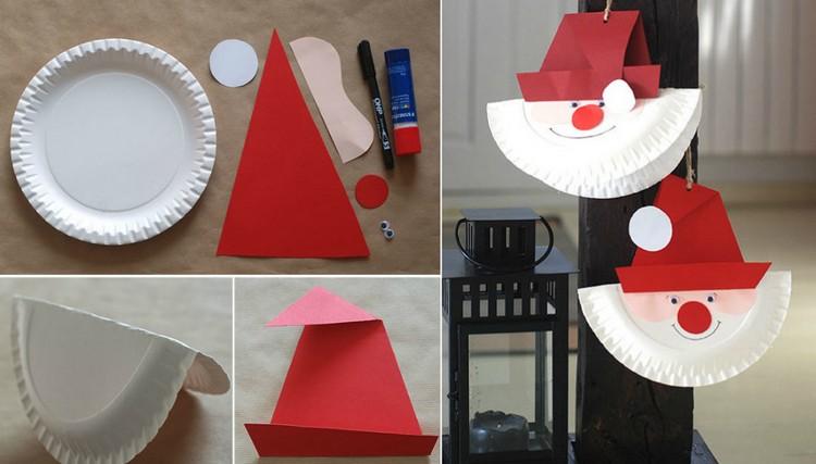 Basteln mit Pappteller Weihnachtsmann Hut Tonpapier