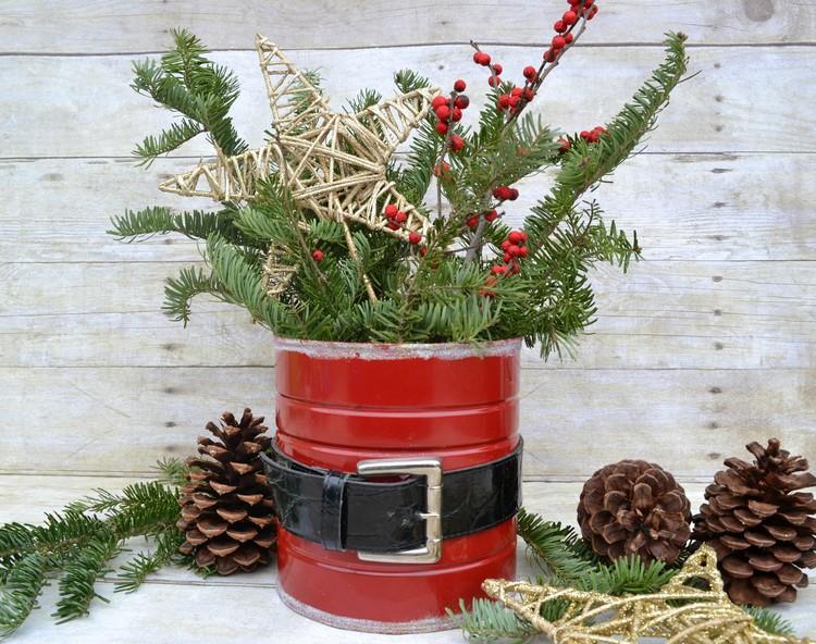 Weihnachtsmann basteln Metalldose Gürtel