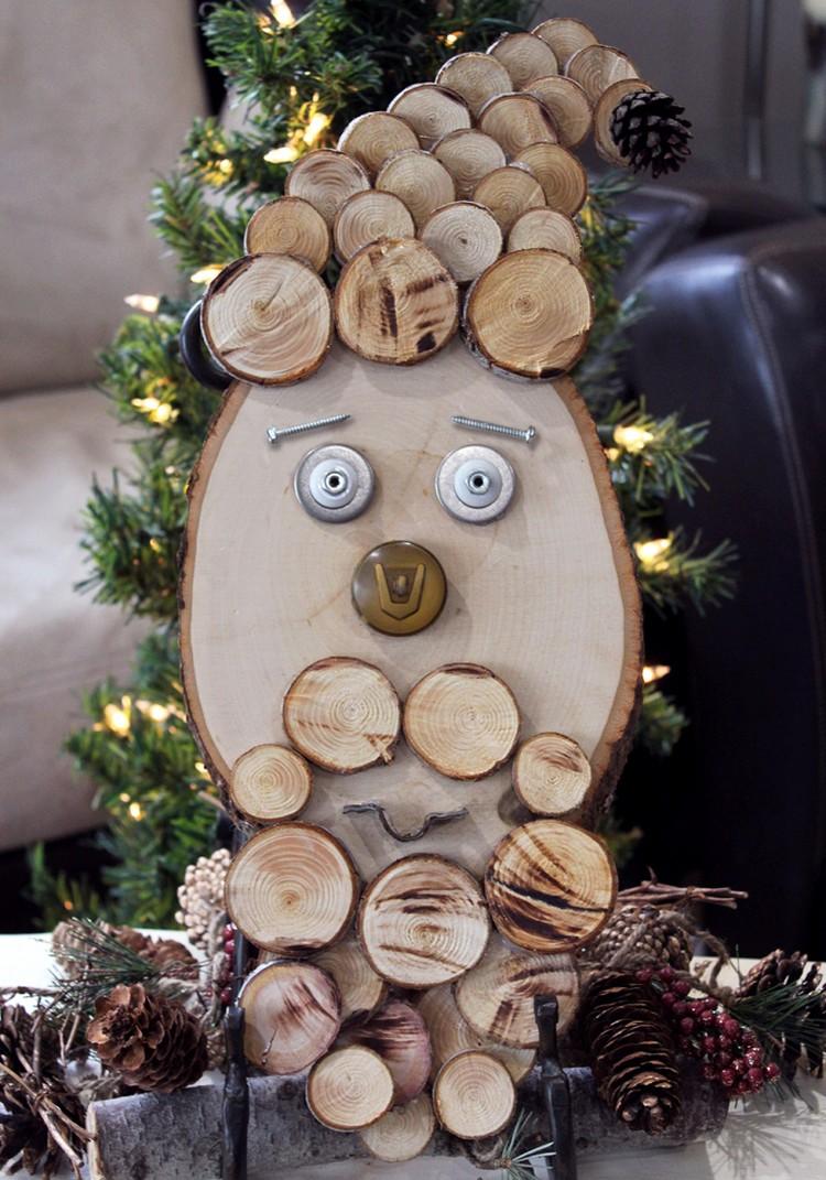 Weihnachtsmann basteln Holzscheiben kreativ
