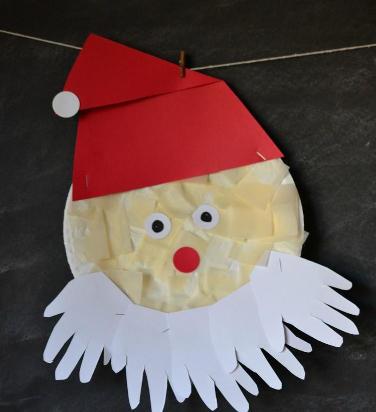 Basteln mit Pappteller Weihnachtsmann Bart Papier Handabdrücke