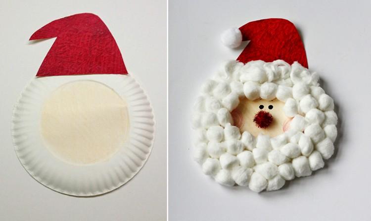 Weihnachtsmann basteln Pappteller Wattebällchen