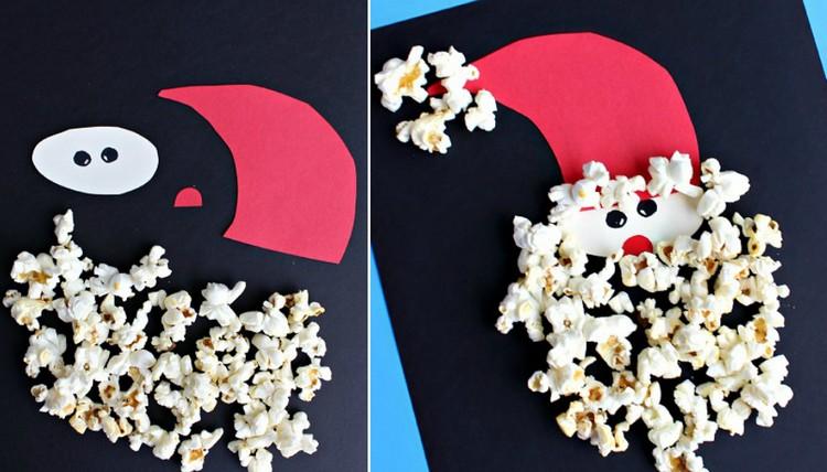 Weihnachtsmann basteln Tonpapier Popcorn