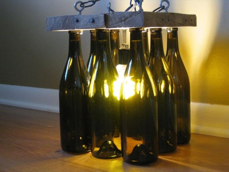 Lampe aus Flaschen Bodenlampe Holzplatte