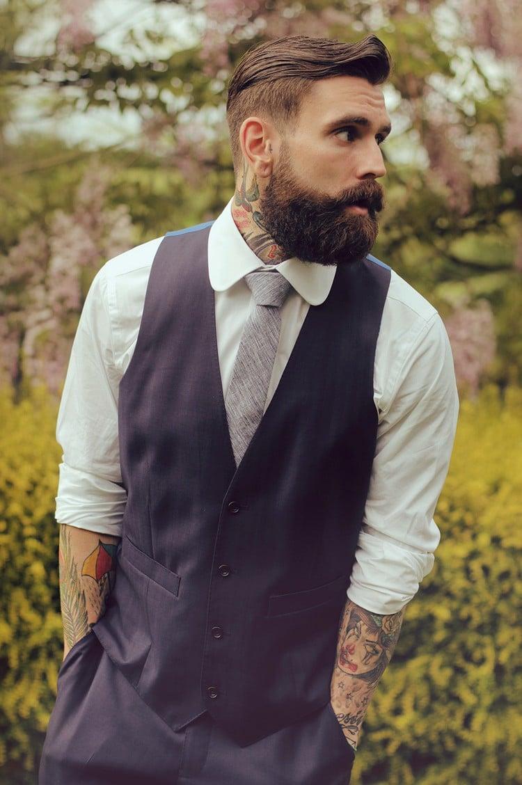 Hipster Frisur mit Bart elegant Mann