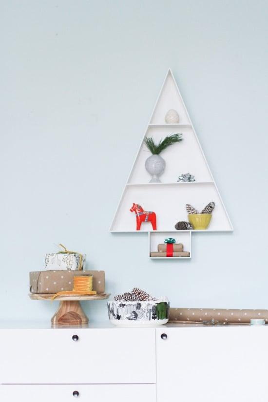 Weihnachtsdeko Wanddekoration - Holz Weihnachtsbaum an der Wand