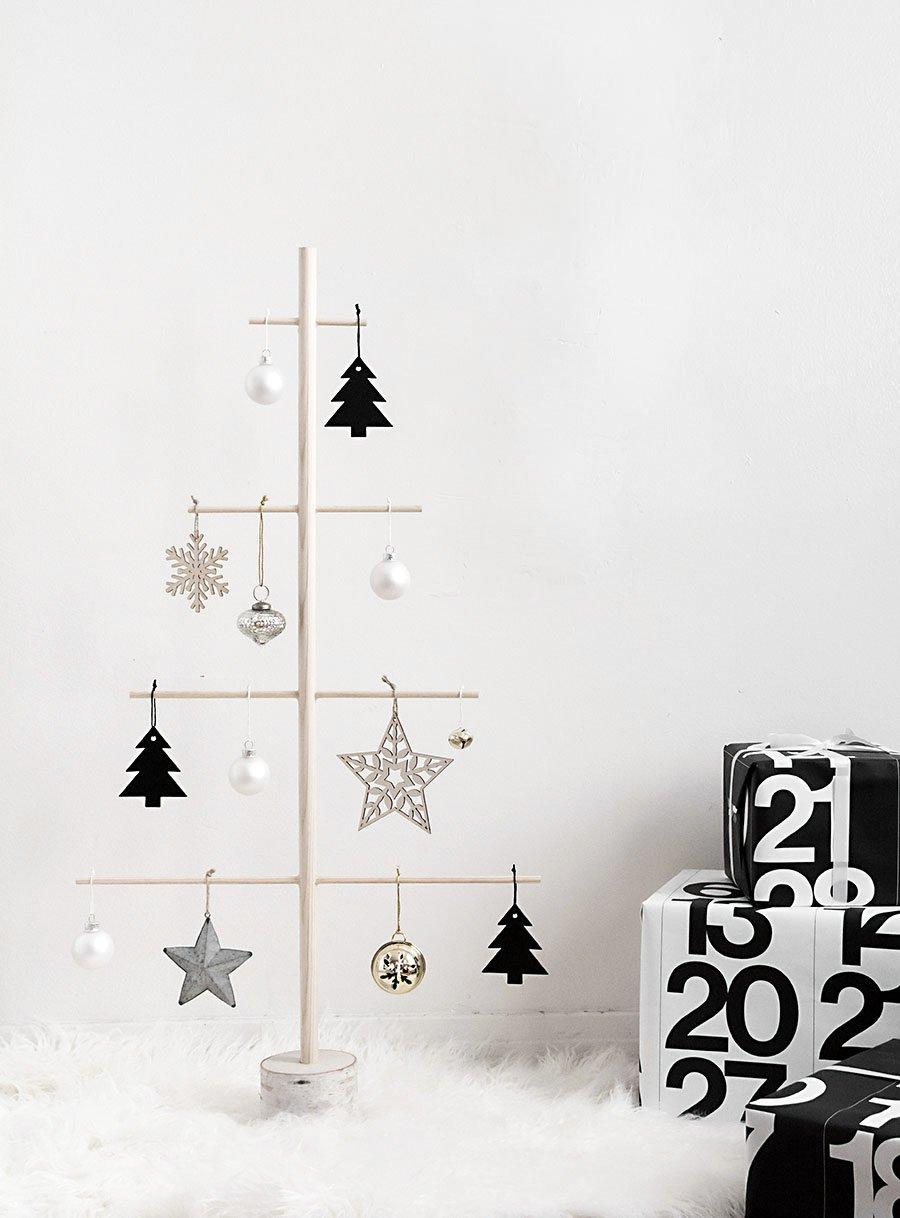 Moderne Weihnachten in Schwarz Weiß in skandinavischer Art