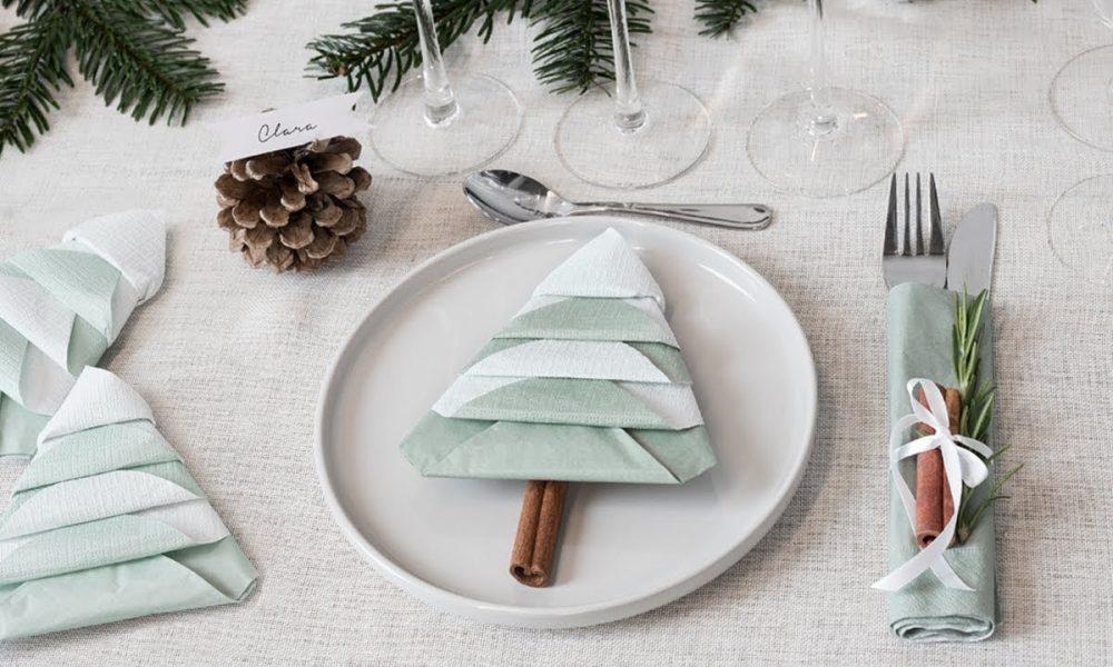 last minute tischdeko selber machen servietten falten weihnachten weihnachtsdeko ideen. Black Bedroom Furniture Sets. Home Design Ideas