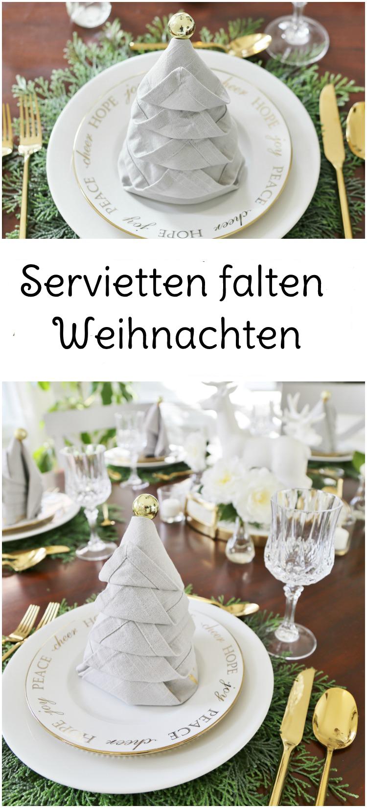 Servietten Falten Weihnachten - DIY Anleitung
