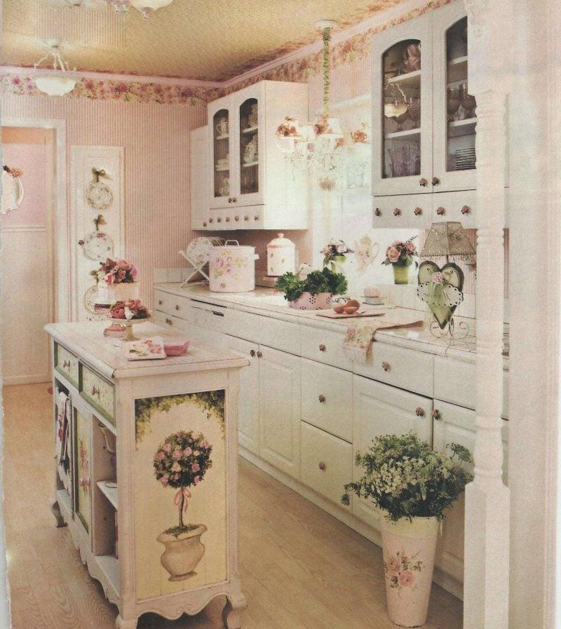 Shabby chic Küche mit romantischem Vintage-Flair