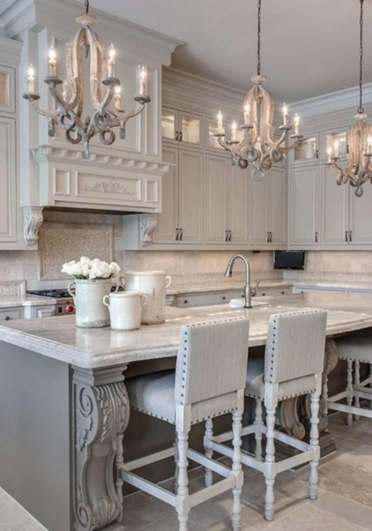 Küche Shabby chic sieht auch sehr gut in Grau aus