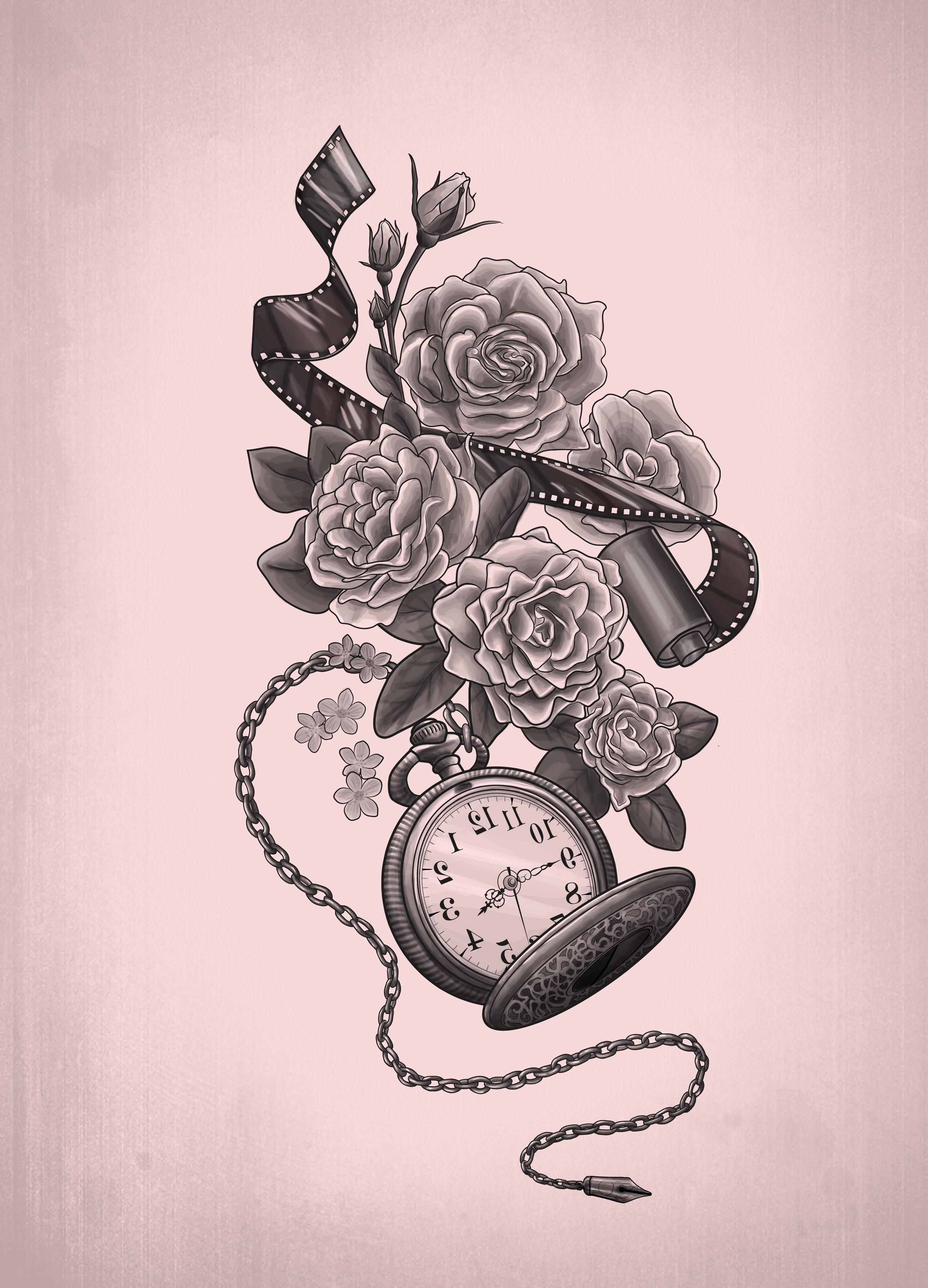 Tattoo Vorlagen - Tattoo Taschenuhr