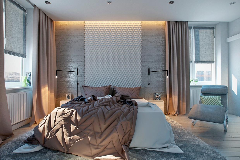 Bienenstock Wandeffekt in weiß ist eine interessante Idee für die Wanddekoration in Ihre Schlafzimmer