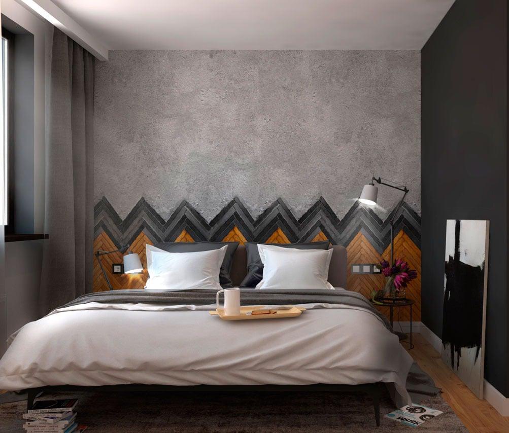 Schlafzimmer Deko Ideen: Grauen Wänden mit brauen Akzenten