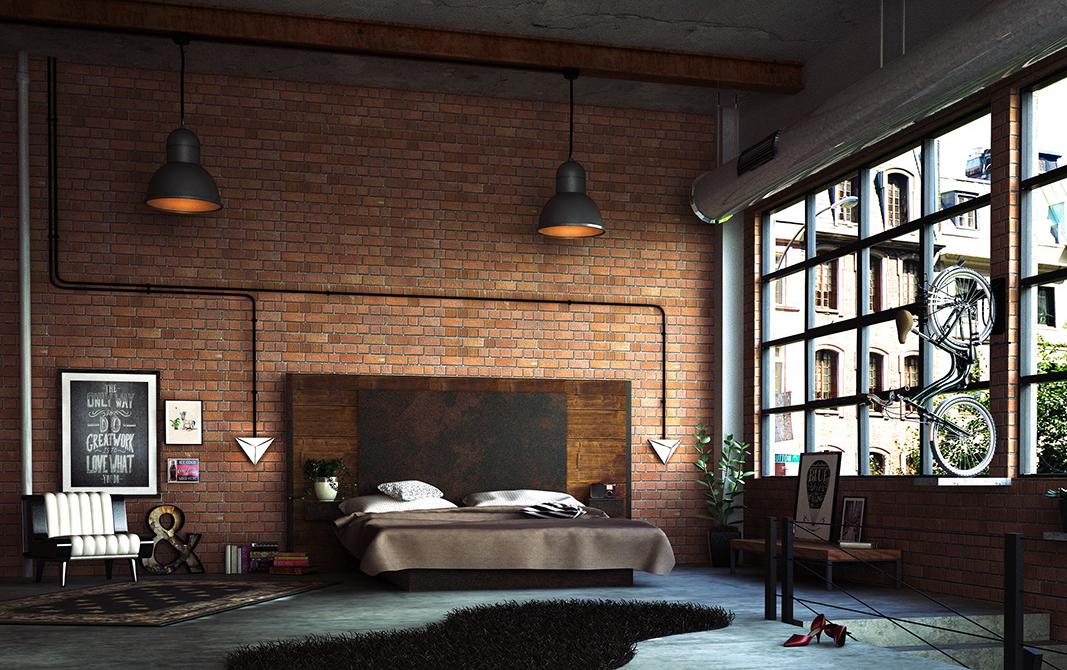 Wanddeko Schlafzimmer mit Ziegel im Urban Stil